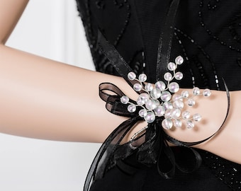 Limited Edition Frosted White Corsage - White Wrist Corsage with Purple and Green Highlights -  Wrist Corsage