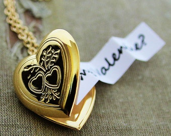 Valentine's Day Secret Message Heart Locket - Shiny Gold Edition - Customized with your personal message for the one you love