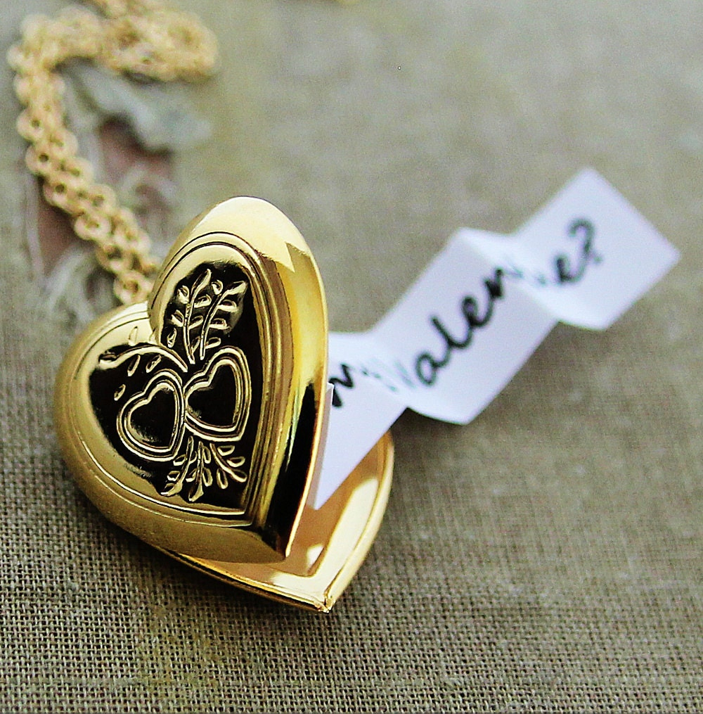 message secret locket letter store envelope brass lockets necklace raw personalised