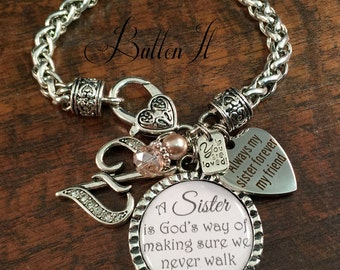 Sister bracelet,  PERSONALIZED jewelry, sister gift, SISTER jewelry, initial, charm bracelet, sister birthday gift, religious jewelry