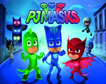 PJ Masks Edible Cake Topper Edible  Frosting Sheet - Quarter , Half , Round , Strips , Cupcake Sizes
