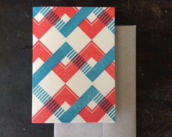 Chevron Letterpress Notecard - Tomato & Blue