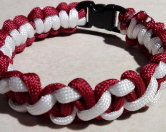 Braided red and white Paracord Bracelet