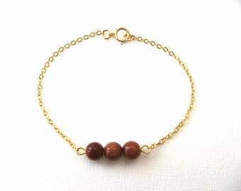 Dainty Goldstone Bracelet - Little 14K Gold Plated Bracelet with Goldstone Beads - charm bracelet - layering bracelet - stone bracelet