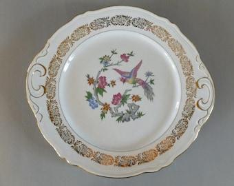 French Vintage Ceramic Cake Plate, Vintage Dessert Plate, Saint Amand Ceramic