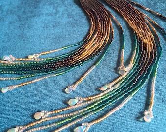 "Maui Swan Designs ""Golden Fire Opal Rain"" handmade 11"" Long Seed Bead Earrings with Ethiopian Fire Opals & 14K gold-filled beads"