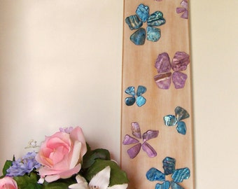 Repurposed Ceiling Fan Blade Wall Art, Upcycled Wall Decor, Abstract Floral Flowers, Decorative Flowers, Distressed, Natural, Handmade