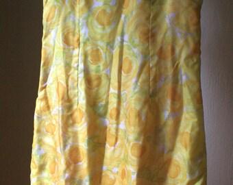 1960s lemon yellow rose sheath wiggle dress size size medium large