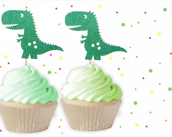 Dinosaur Cupcake Toppers - Boys Birthday Cupcake Toppers, 1st Birthday, Dinosaur Birthday, Dinosaur Party, T-rex cupcake toppers