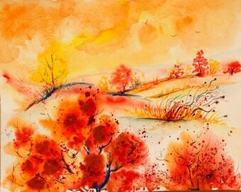 Landscape painting Sunset painting Original painting Autumn painting Original watercolor landscape painting original art Autumn Nature art