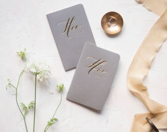 Wedding Vow Books Gold Foil Press on Grey Moleskine-set of his and her with no personalization