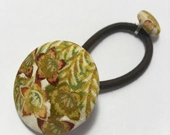 Hand made vintage silk kimono covered button Ponytail holder