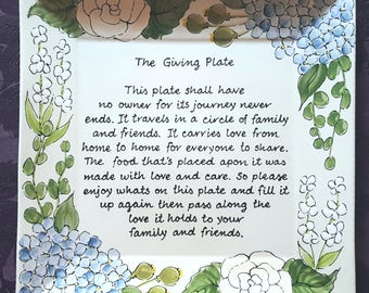 The Giving Plate - Gift to Mom and Dad - Hostess gift Holiday Gift - Christmas gift - family gift Housewarming Present  -  rose giving plate