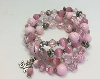 Bracelet Memory Wire Wrap 4 Coils Pink Cancer Awareness Charms