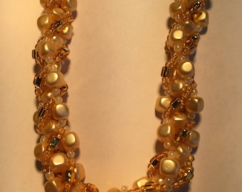 Cream square pearl bead necklace with gold bead trim