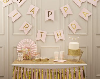 Happy Birthday Bunting Pastel Pink  and Gold Foiled Paper Bunting - Paper Bunting - birthday party decoration - NK0171