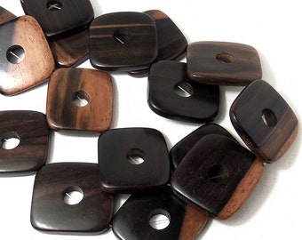 Tiger Ebony Wood Diamond with Open Cut Out, Flat, Smooth, Cage Bead, Focal Bead, Natural Wood Beads,40mm, Large, Big, Chunky, 2pcs - ID 1862