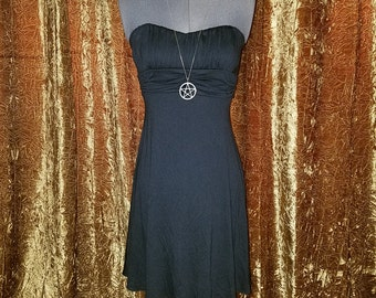 Black Cotton Strapless Summer Dress Small, Body Con