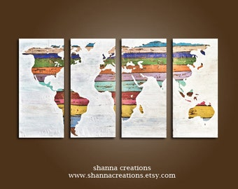 Original earthy modern contemporary art by shannacreations on etsy vintage world map painting set of 3 wall art hand acrylic painting mixed art canvas art wall decor art rustic world map decor shabby gumiabroncs Image collections