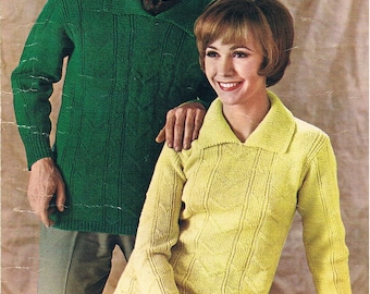 Vintage Knitting Pattern PDF: 1960s Double Knitting Sweater for Men and Women Digital Copy