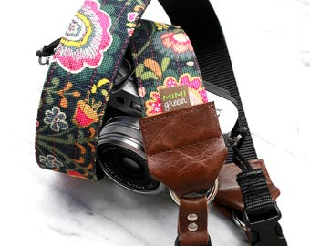 Canvas DSLR or Mirrorless Camera Strap with Camera Hand Strap - 1.5 inches wide - Floral Camera Strap - Super Cool Camera Strap- The 'MIDGE'