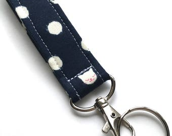 Cat Keychain, Fabric Key Fob With Snap, Navy and Pink