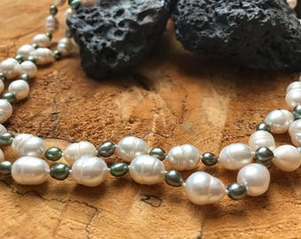 Pearl and Black Pearl Single Strand Necklace