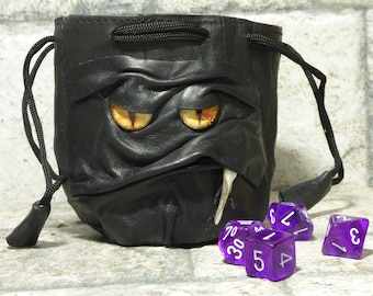 Dice Bag Marble Bag Fairy Pouch With Monster Face RPG Drawstring Bag Rune Bag Magic The Gathering Gamer Gift Black Leather 42