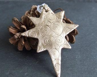 Unique Golden Christmas Star Ornament, Gold Bronze Hanging Ornament/Gift Tag/Stocking Filler, Handmade Metal Xmas Seasonal Tree Decoration