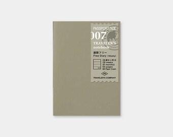 Midori Traveler's Notebook Refill 07 - Passport Size - Free Diary Weekly