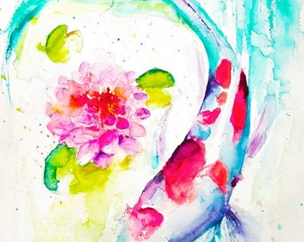 Animal Watercolor Painting, Animal Print, Koi Fish Art, Koi Fish Painting, Koi Art, Koi Fish Watercolor, Fish Art, Lotus Painting, Lotus Art