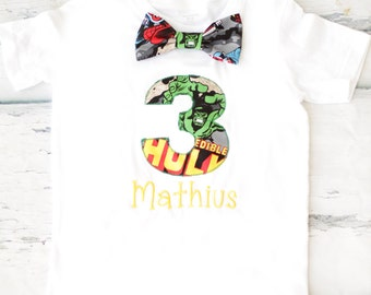 Boy third birthday Hulk themed 3rd birthday shirt Toddler boy third birthday Marvel T Shirt with matching tie Boy number 3 avengers Shirt