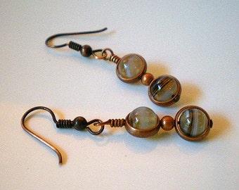 Earth Tones Earrings, Gem Stones in Copper Cages Earrings, Banded Stones Caged in Copper Earrings
