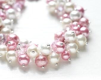 Pink Wedding Bridesmaid Jewelry Pearl Cluster Bracelet - Sweet Love