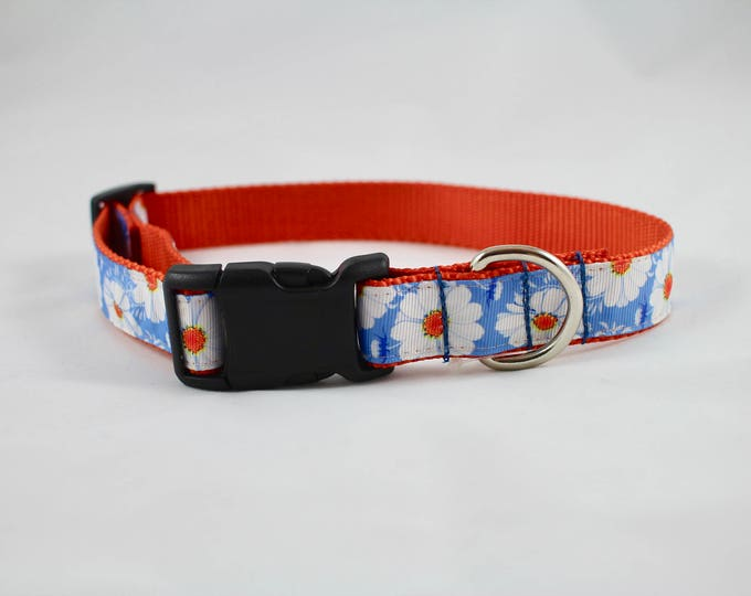 daisy collar, blue collar, orange collar, floral collar, dog collar, pet gift, dog accessory, woven jacquard collar