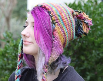 Charming Knitted Earflap Hat with Pom Pom and Braids - Muted Rainbow Wool