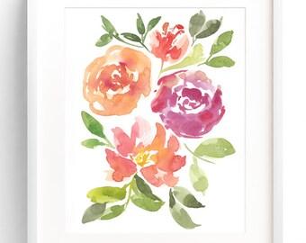 Peony & Rose Bouquet, Watercolor Art Print, Watercolor Painting, Floral Watercolor Painting, Wall Art Print, Floral Art, Watercolor Flowers