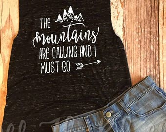 The Mountains Are Calling And I Must Go Black Marble Muscle Tank, Hiking, Mountains, Travel, Adventure, Camping