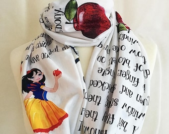 Snow White Infinity Scarf, Snow White Gift, The Brothers Grimm, Book Scarf,Literary gift UK, By  Rooby Lane