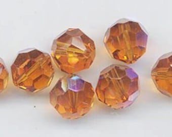 Twelve non-standard Swarovski crystals - Art. 5000 - 10 mm - topaz AB