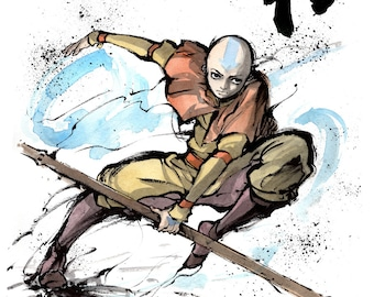 8x10 Print of Aang from Avatar series with calligraphy HARMONY