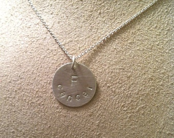 F cancer --round disc pendant