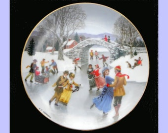 1990 Danbury Mint Skating on the Pond Old Time Country Winter Collector's Plate EX