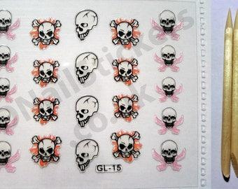 GL-15 Halloween Fire Swords Skulls Cross Bones 3D Nail Art Stickers + FREE 5x wood cuticle sticks