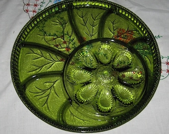 Indiana Glass Pebble Leaf Olive Egg Hors D'oeuvre Tray in original box