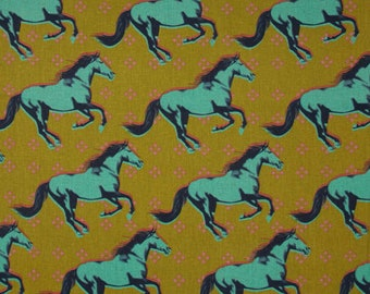 Mustang Horse in Mustard, Cotton + Steel, Yellow, half yard or yardage, Canvas Home Decorator Fabric, Pillows