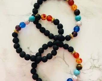 Chakra healing bracelets with lava beads for daily oil diffusion