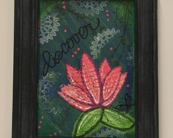 "Framed Mixed Media Art - 6-5/8""x9-5/8"" - ""Discover"" Lotus Flower"