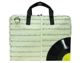 upcycled laptop bag women - laptop briefcase for women - vegan laptop case - recycled laptop bag - music teacher gift for music lover