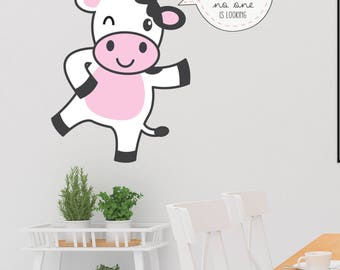 Cow Quote Wall Decal - Positive Thinking For Kids Decor - Do The Right Thing Even When No One Is Looking Message Vinyl Sticker - CG298